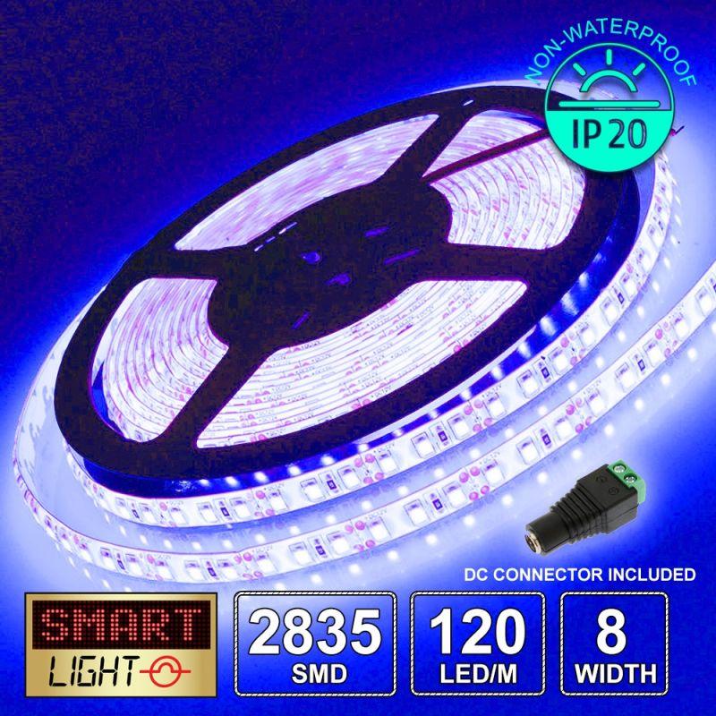 12V/5M SMD 2835 IP20 Non-Waterproof 8mm LED Strip 600 LED (120LED/M) - BLUE