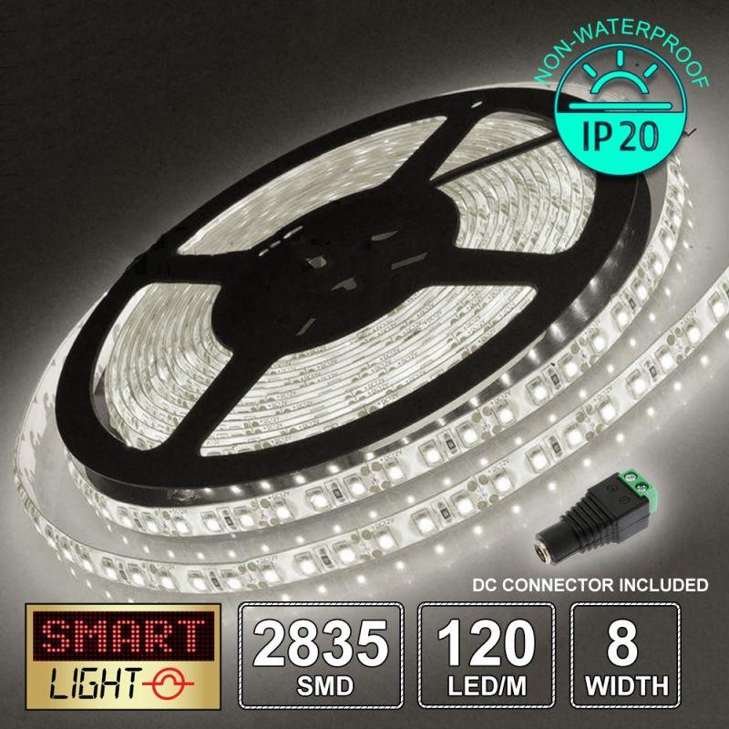 12V/5M SMD 2835 IP20 Non-Waterproof 8mm LED Strip 600 LED (120LED/M) - COOL WHITE
