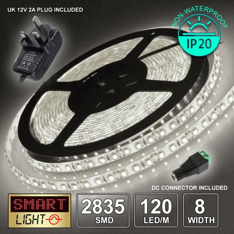 12V/5M SMD 2835 IP20 Non-Waterproof 8mm LED Strip 600 LED (120LED/M) + 12V AC ADAPTOR - COOL WHITE