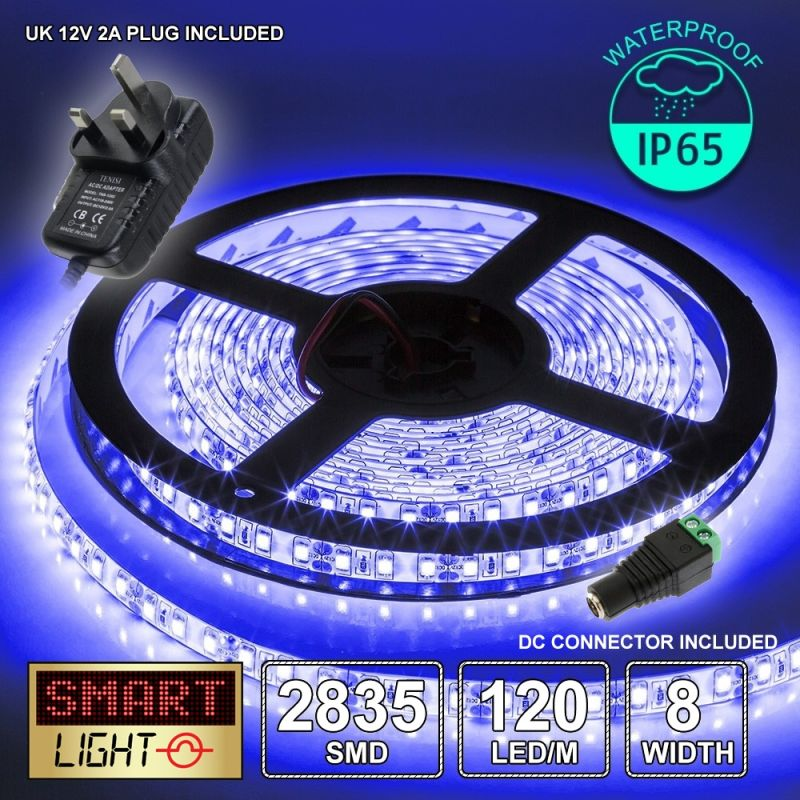 12V/5M SMD 2835 IP65 Waterproof 8mm LED Strip 600 LED (120LED/M) + 12V AC ADAPTOR - BLUE