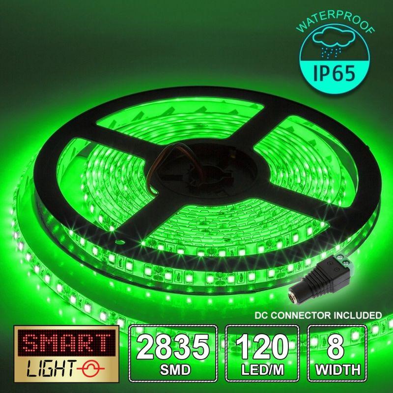12V/5M SMD 2835 IP65 Waterproof 8mm LED Strip 600 LED (120LED/M) - GREEN