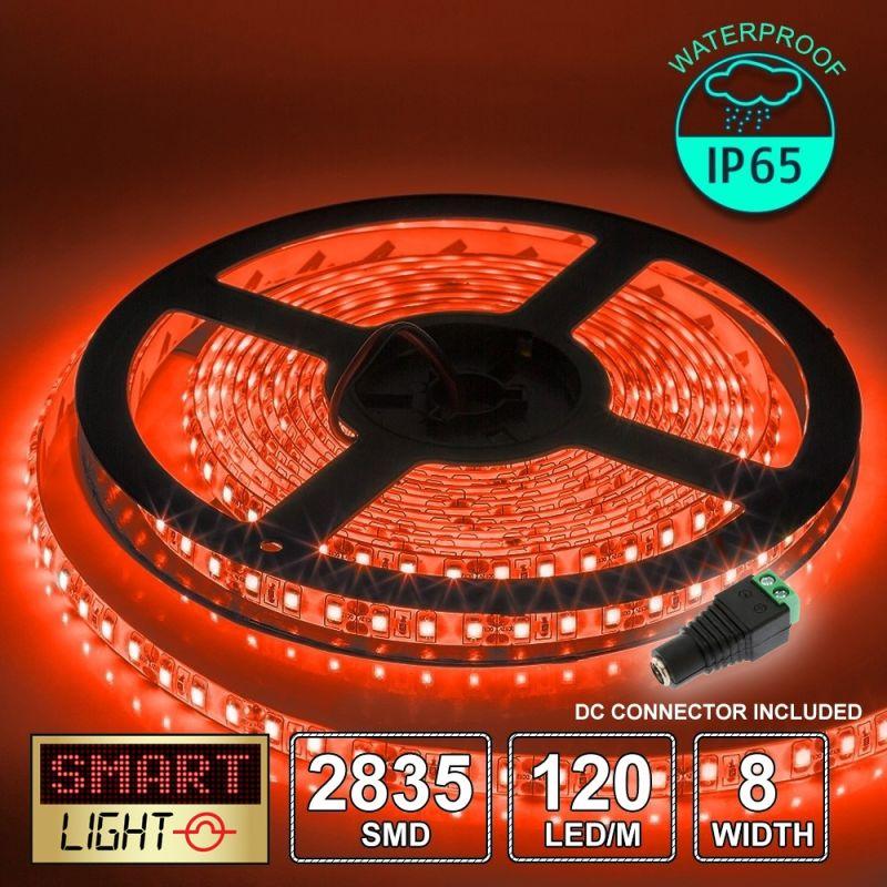 12V/5M SMD 2835 IP65 Waterproof 8mm LED Strip 600 LED (120LED/M) - RED