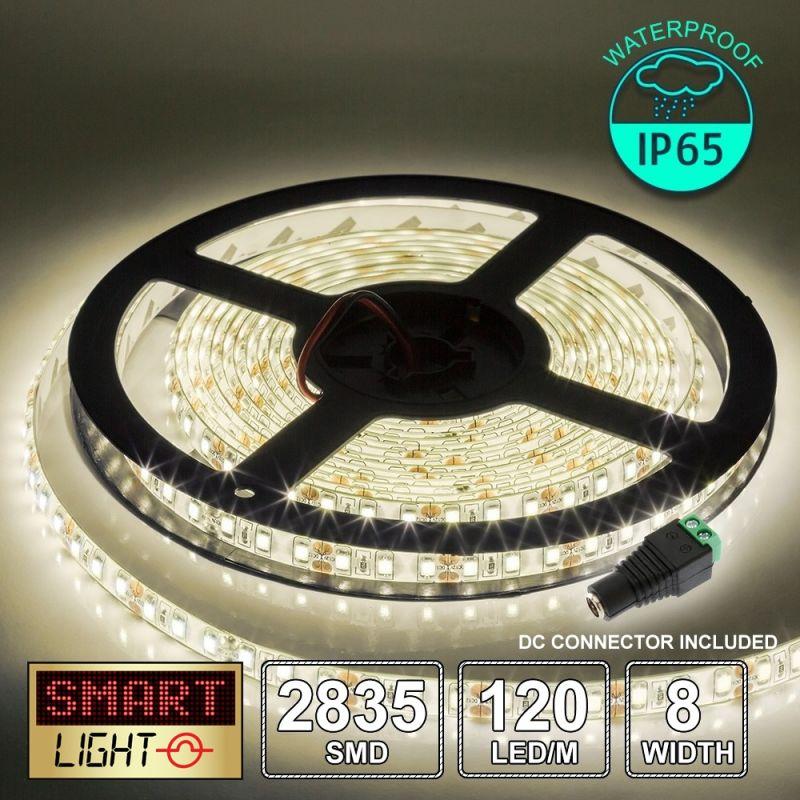 12V/5M SMD 2835 IP65 Waterproof 8mm LED Strip 600 LED (120LED/M) - WARM WHITE