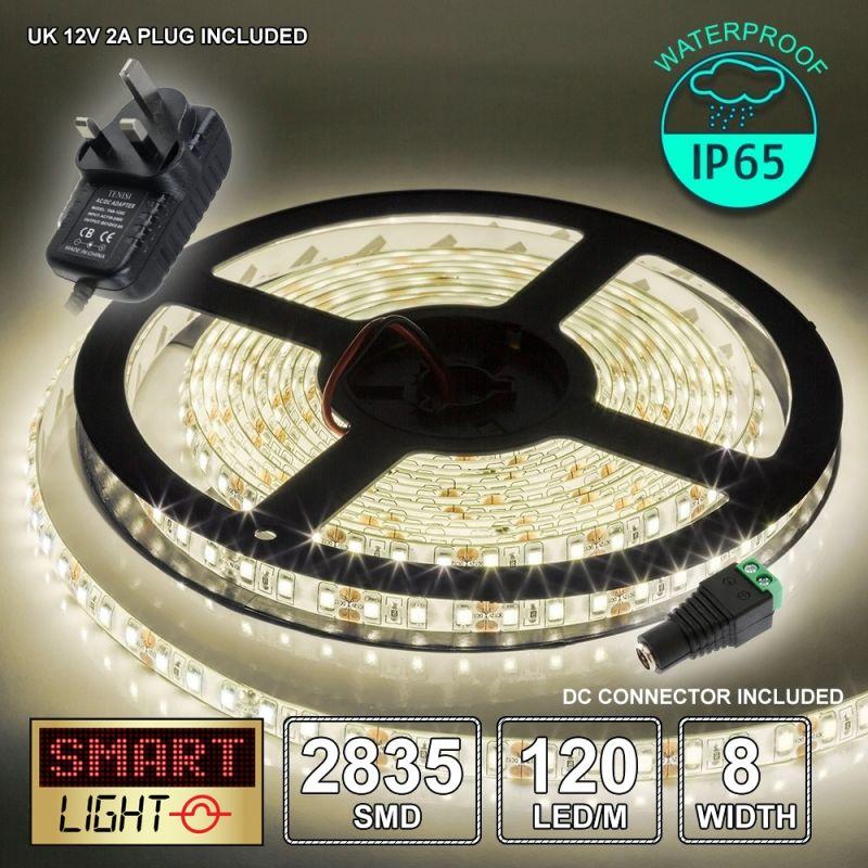 12V/5M SMD 2835 IP65 Waterproof 8mm LED Strip 600 LED (120LED/M) + 12V AC ADAPTOR - WARM WHITE