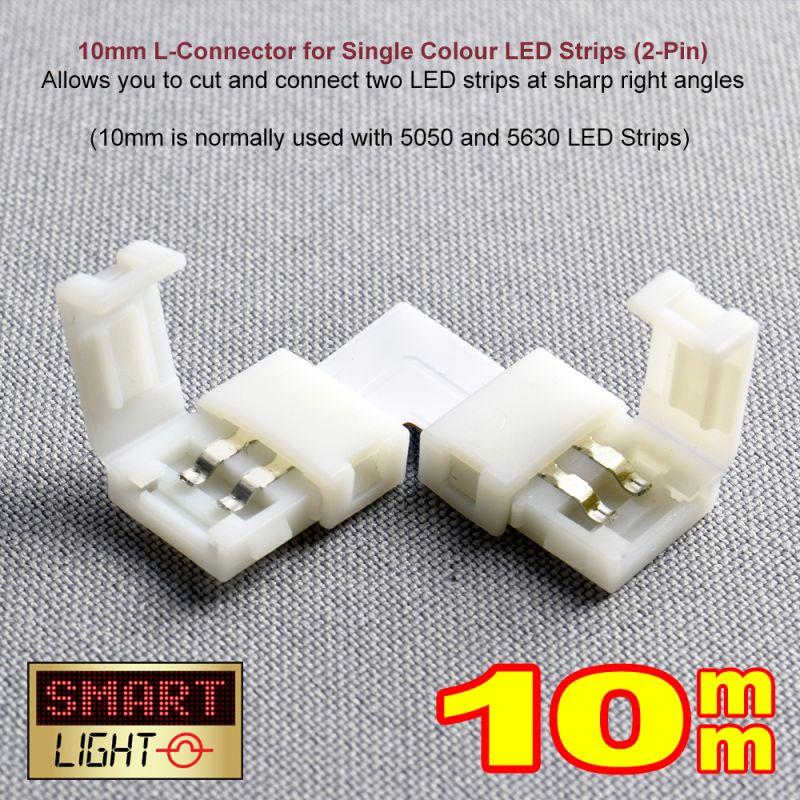 2-Pin / 10mm Single Colour LED Strip L Connector