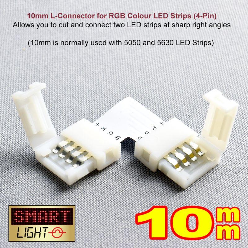 4-Pin / 10mm RGB LED Strip L Connector