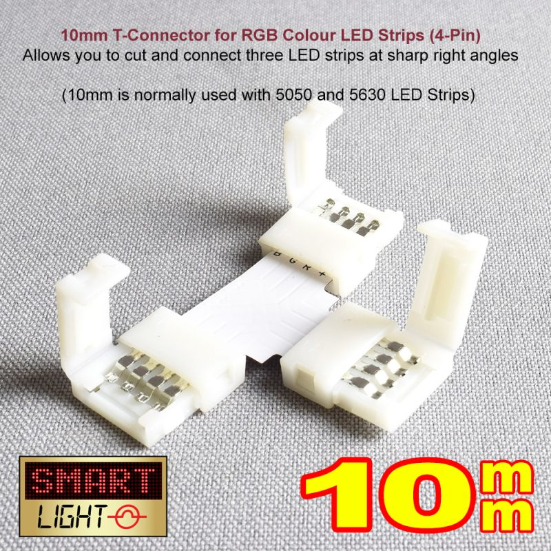 4-Pin / 10mm RGB LED Strip T Connector