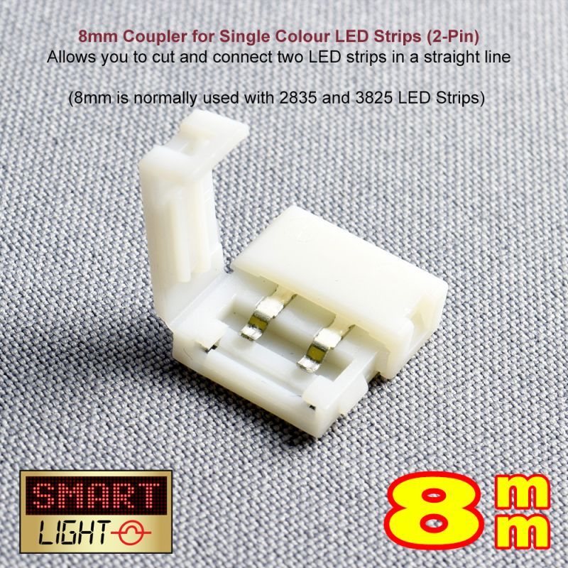 2-Pin / 8mm Single Colour LED Strip Straight Connector