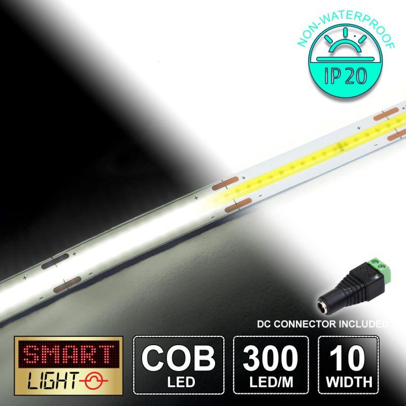 12V/1M COB IP20 Non-Waterproof Strip 300 LED - COOL WHITE
