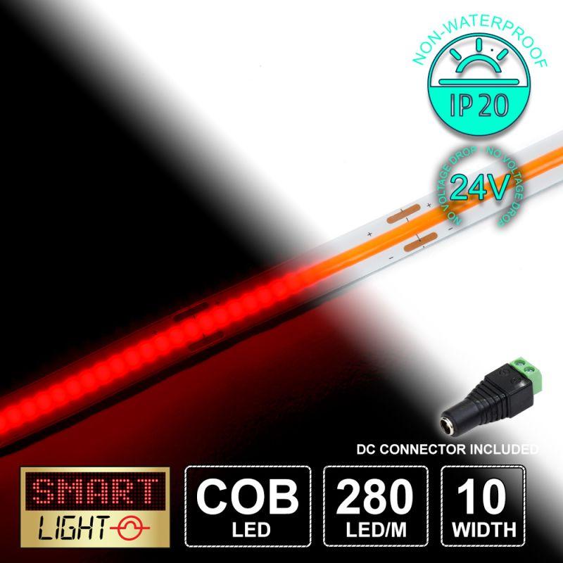 24V/5M COB IP20 Non-Waterproof Strip 1400 LED - RED