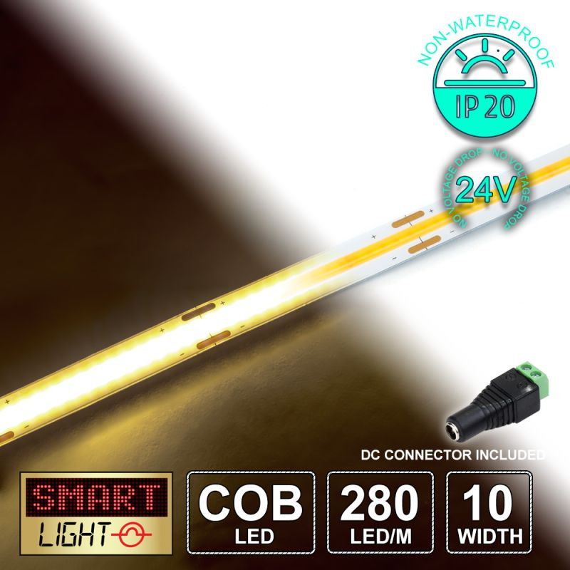 24V/1M COB IP20 Non-Waterproof Strip 280 LED - WARM WHITE