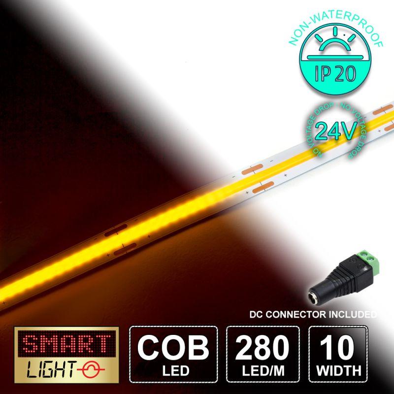 24V/1M COB IP20 Non-Waterproof Strip 280 LED - YELLOW