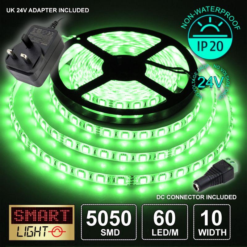 24V/5m SMD 5050 IP20 Non-Waterproof Strip 300 + 24V AC ADAPTOR - GREEN
