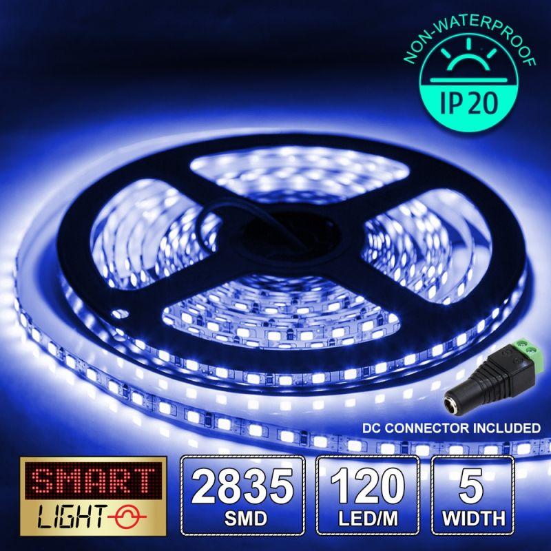 12V/5M SMD 2835 5MM IP20 Non-Waterproof Thin 5mm Strip 600 LED (120LED/M) - BLUE