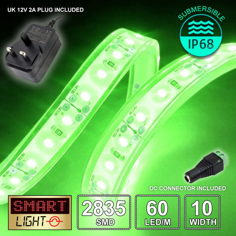 12V/1m SMD 2835 IP68 Submersible Strip 60 LED + 12V AC ADAPTOR - GREEN