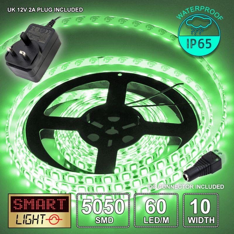 12V/1M SMD 5050 IP65 Waterproof Strip 60 LED + 12V AC ADAPTOR - GREEN