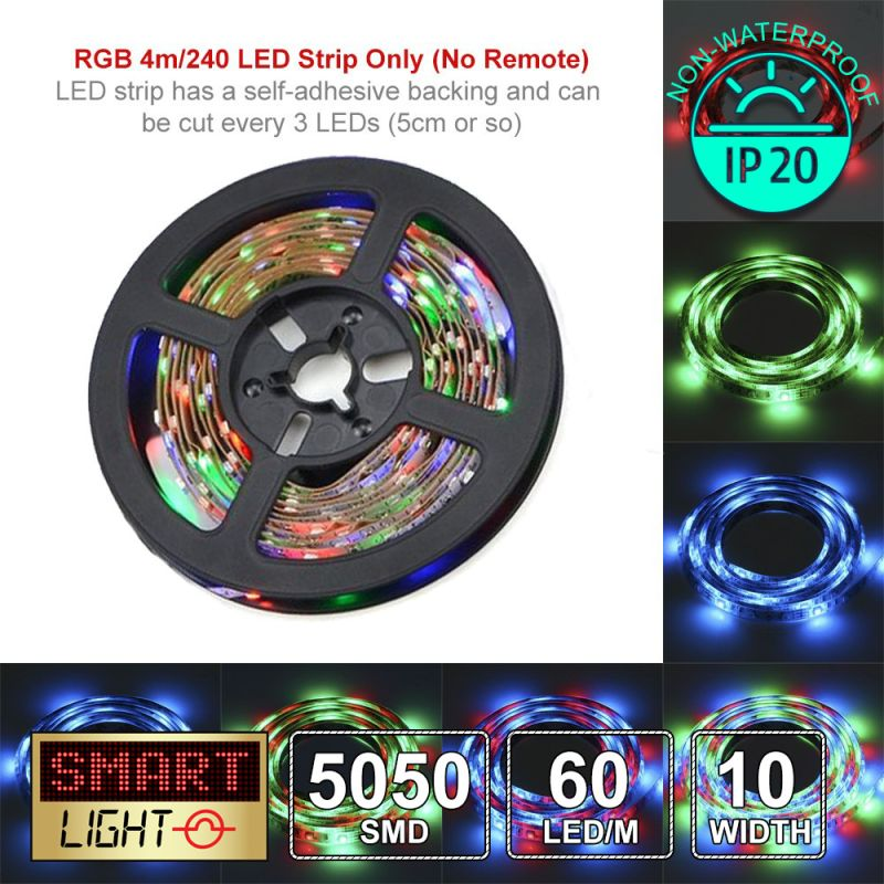 5V/4M SMD 5050/Black PCB IP20 Non-Waterproof Strip 240 LED Strip - RGB